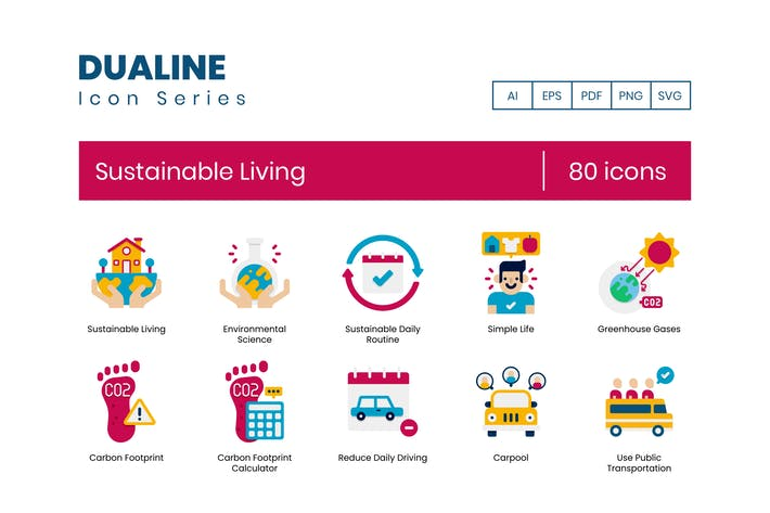 80 Sustainable Living Icons - Dualine Flat Series