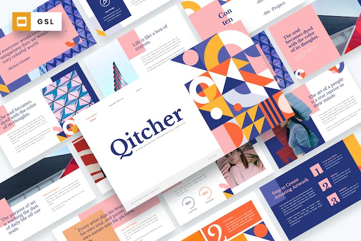 Qitcher - Color Geometry Google Slides Template