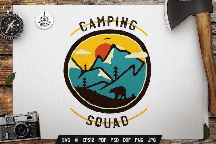 Camp Squad Logo Template SVG. Retro Design