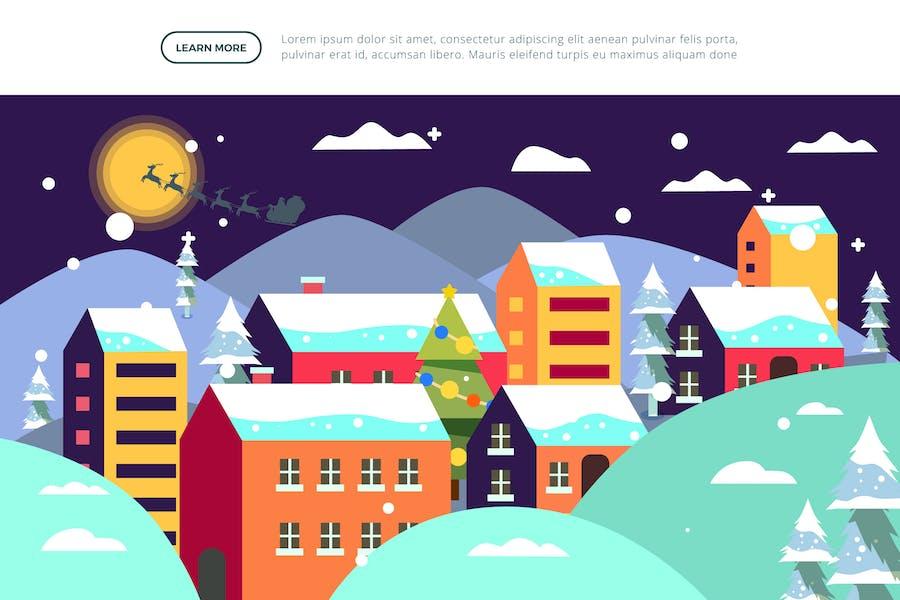 Pueblo - Ilustración de Navidad e Invierno
