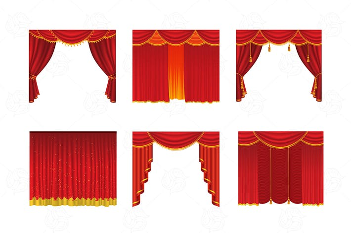 Thumbnail for Curtains - realistic vector set of red drapes