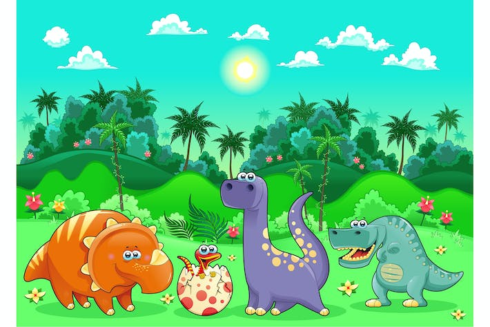 Dinosaurs in the Forest.