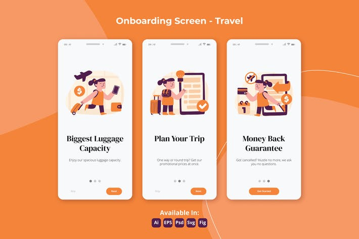 Thumbnail for Travel and vacation apps Onboarding screens
