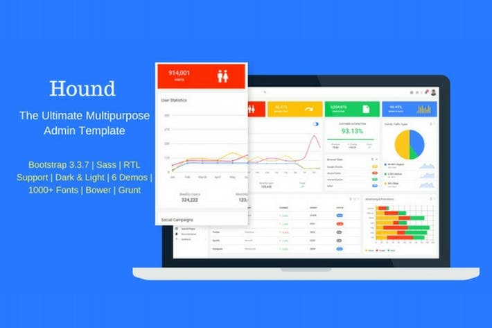 Thumbnail for Hound - The Ultimate Multipurpose Admin Template