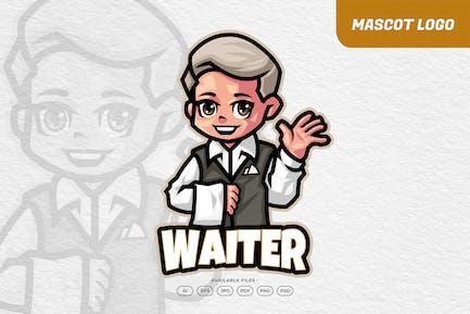 Waiter Restaurant Mascot Logo