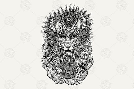 Pen & Ink Print With Indian Fox
