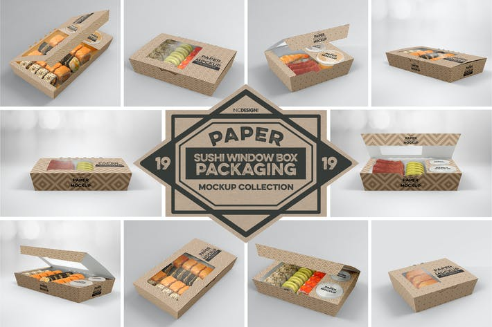 Thumbnail for Paper Window Sushi Boxes Packaging Mockup
