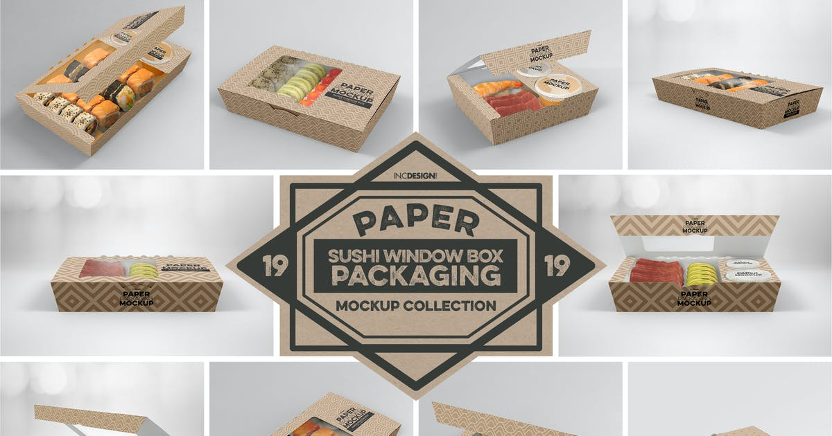 Download Paper Window Sushi Boxes Packaging Mockup by ina717