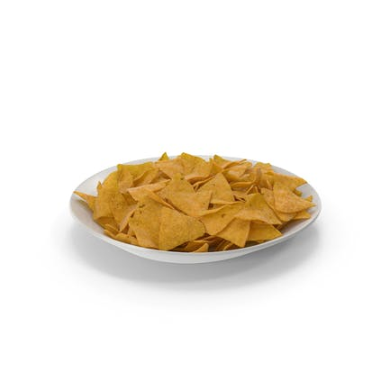 Plate with Corn Tortilla Nacho Chips