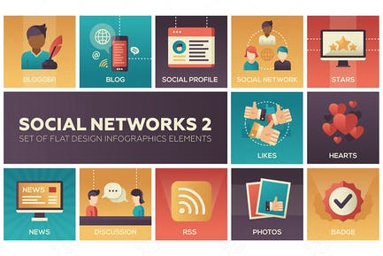 Social networks - set of flat design infographics
