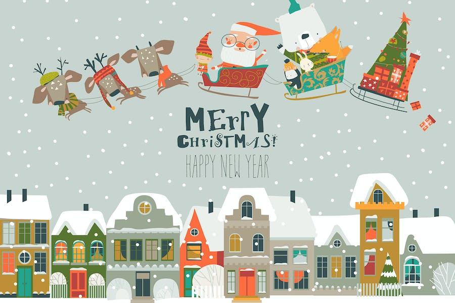 Cartoon sleigh with Santa Claus and animals fly ab