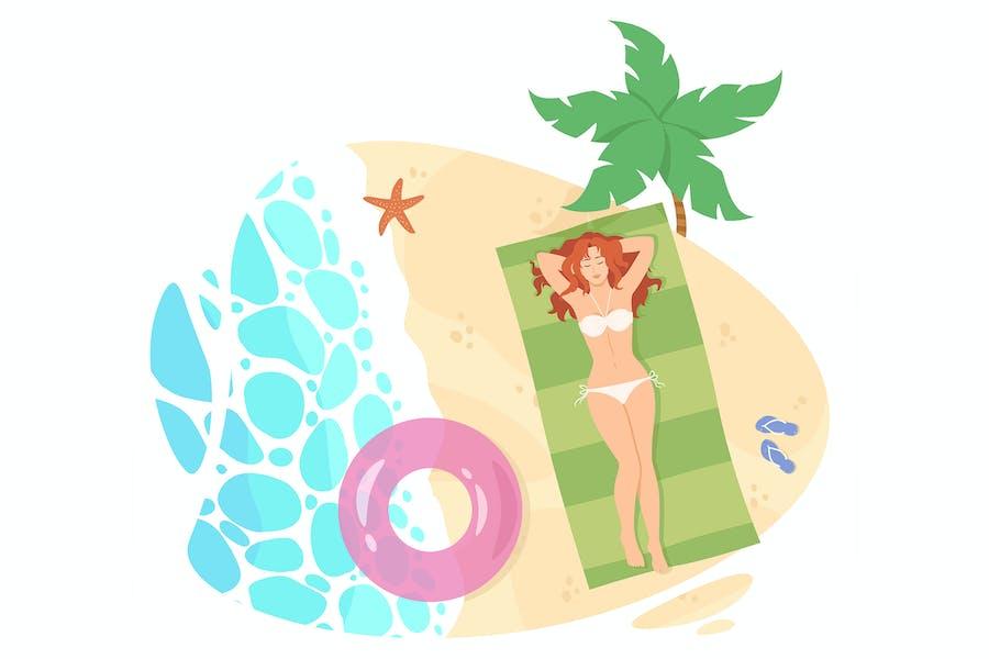 Chica toma el sol en la playa. Vista superior. Vector plano
