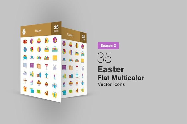 35 Easter Flat Multicolor Icons Season III