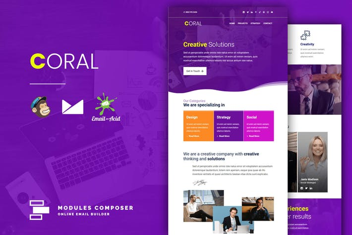 Coral - Responsive Email Template for Startups
