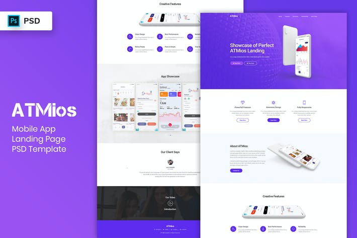Thumbnail for Mobile App - Landing Page PSD Template-04