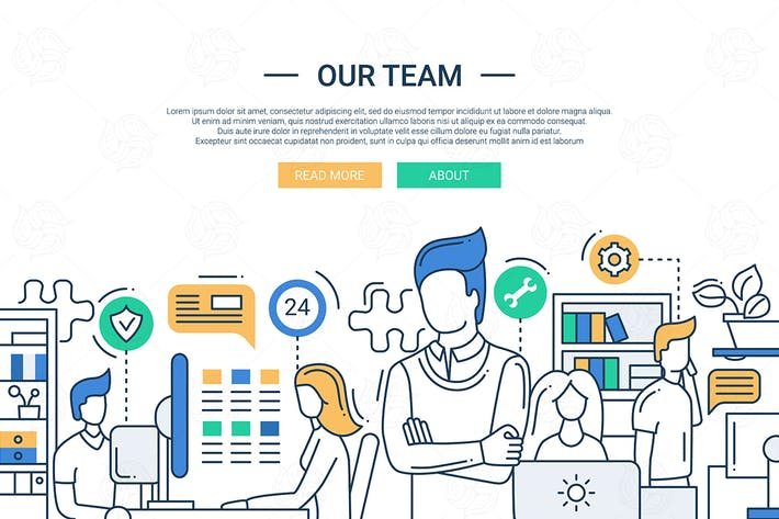 Thumbnail for Our team line flat design banner with office