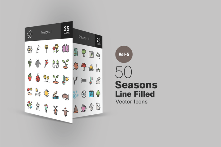 Thumbnail for 50 Seasons Line Filled Icons
