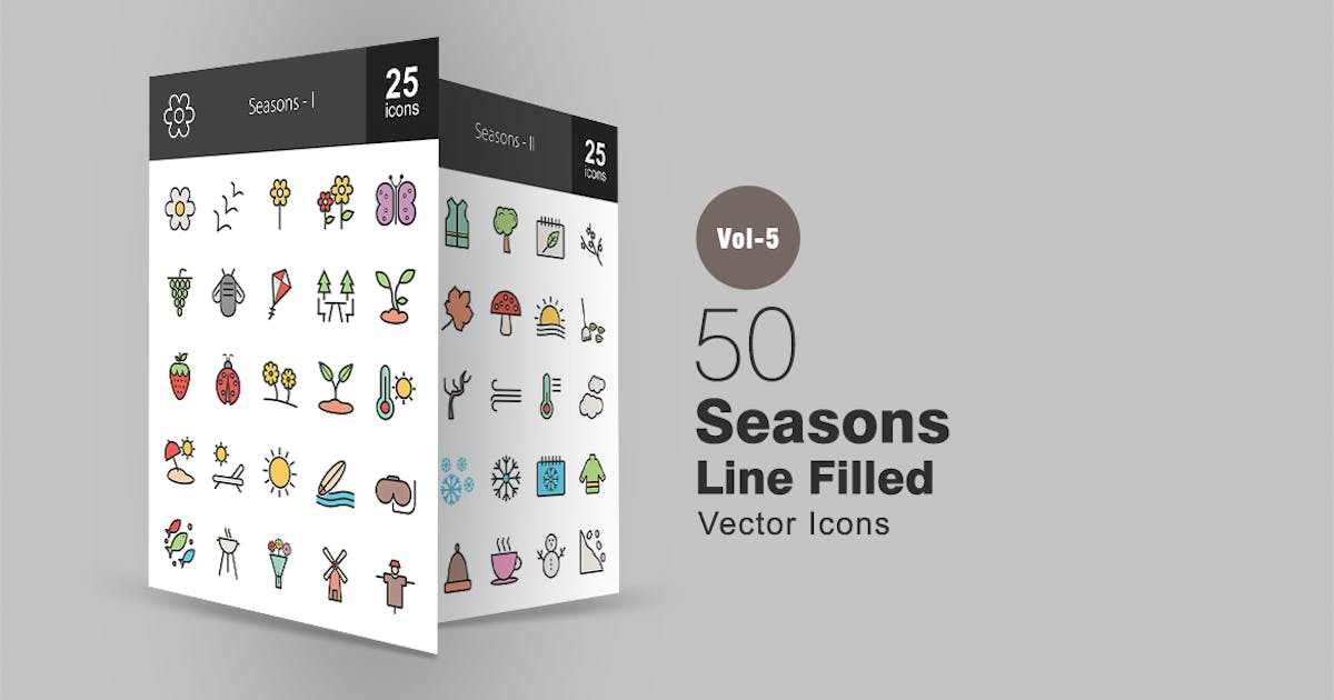 Download 50 Seasons Line Filled Icons by Unknow
