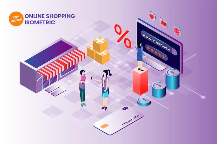 Thumbnail for Isometric Online Shopping Vector Illustration