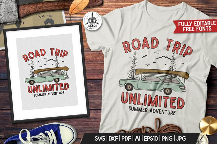 Thumbnail for Road Trip Vector Patch - Mountain Camp Retro Logo