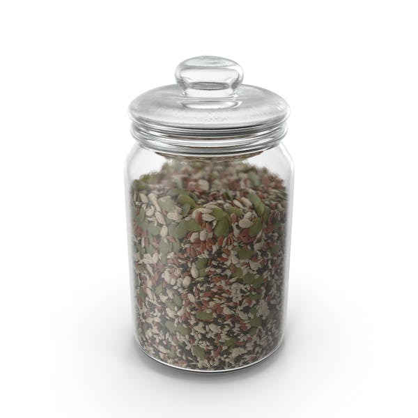 Jar With Mixed Healthy Seeds