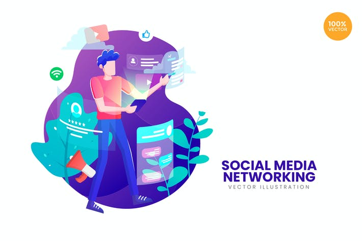 Thumbnail for Illustration Vecteur des réseaux sociaux