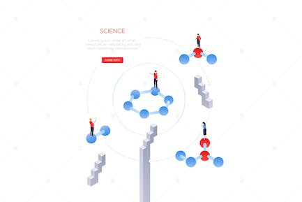 Science and research - modern isometric web banner