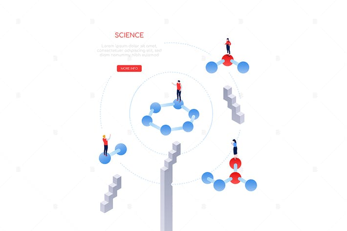Thumbnail for Science and research - modern isometric web banner