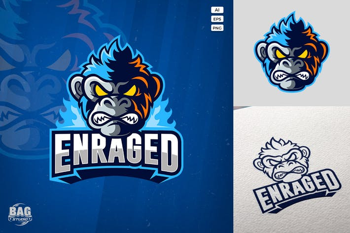 Thumbnail for Angry Monkey Esport Logo Template