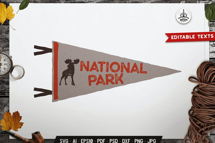 Thumbnail for National Park Pennant Label Animal Badge Design