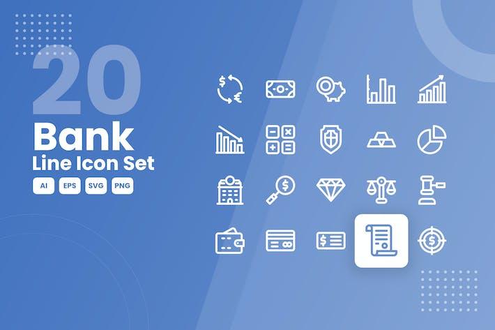 20 Bank Line Icon Set