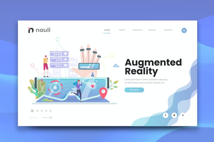 Thumbnail for Augmented Reality Web PSD and AI Vector Template