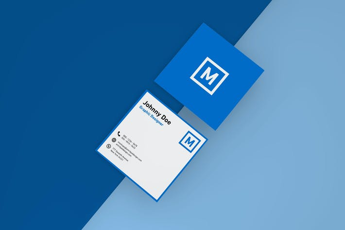 Thumbnail for Square Business Card Mockup - Top View