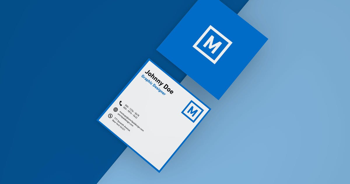 Download Square Business Card Mockup - Top View by amritpaldesign