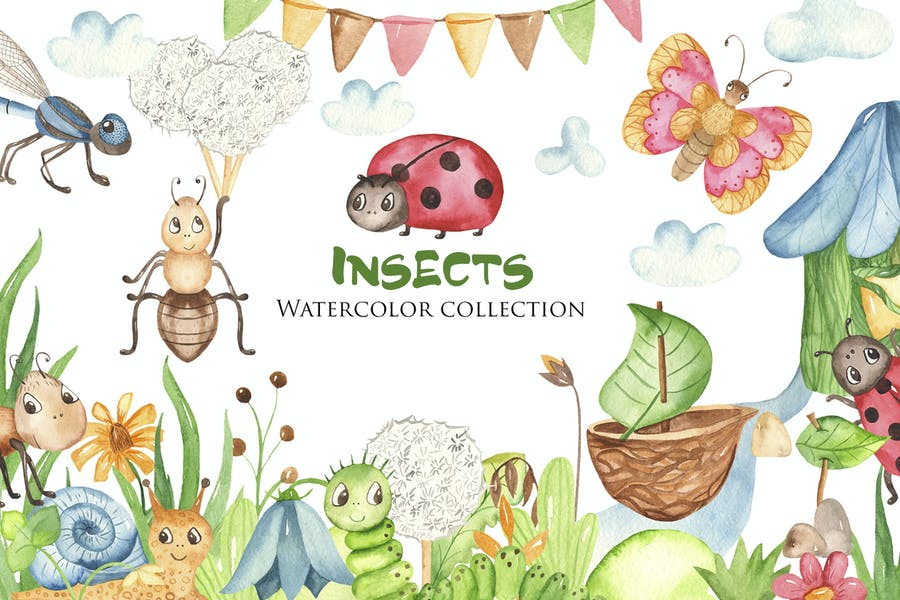 Watercolor Insects Clipart