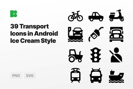 Transport Icons in Android Ice Cream Style