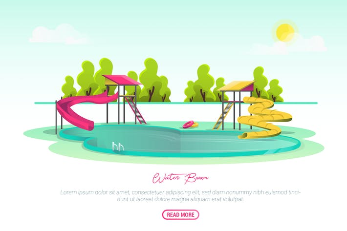 Thumbnail for Water Boom - Vector Landscape & Building