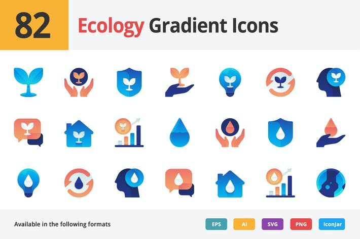 Thumbnail for Ecology Vector Gradient Icons