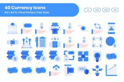 40 Währungs-Icons Set - Flach
