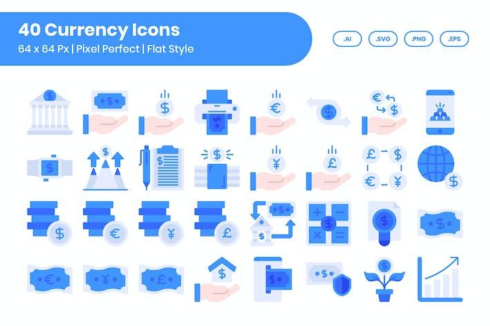 Набор Иконки для 40 валют - плоский