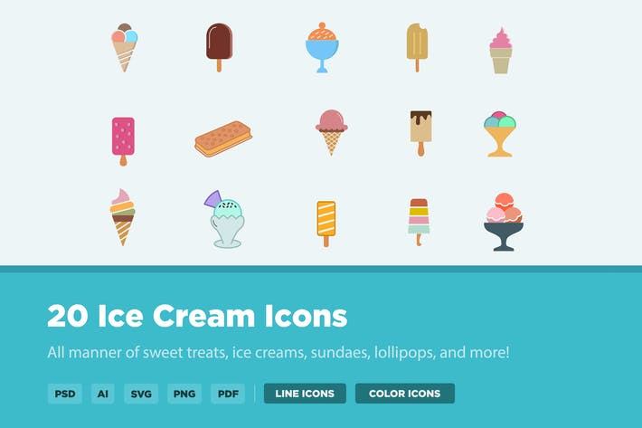 Thumbnail for 20 Ice Cream Icons