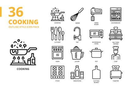 Kochen Gliederung Stil Icon Set
