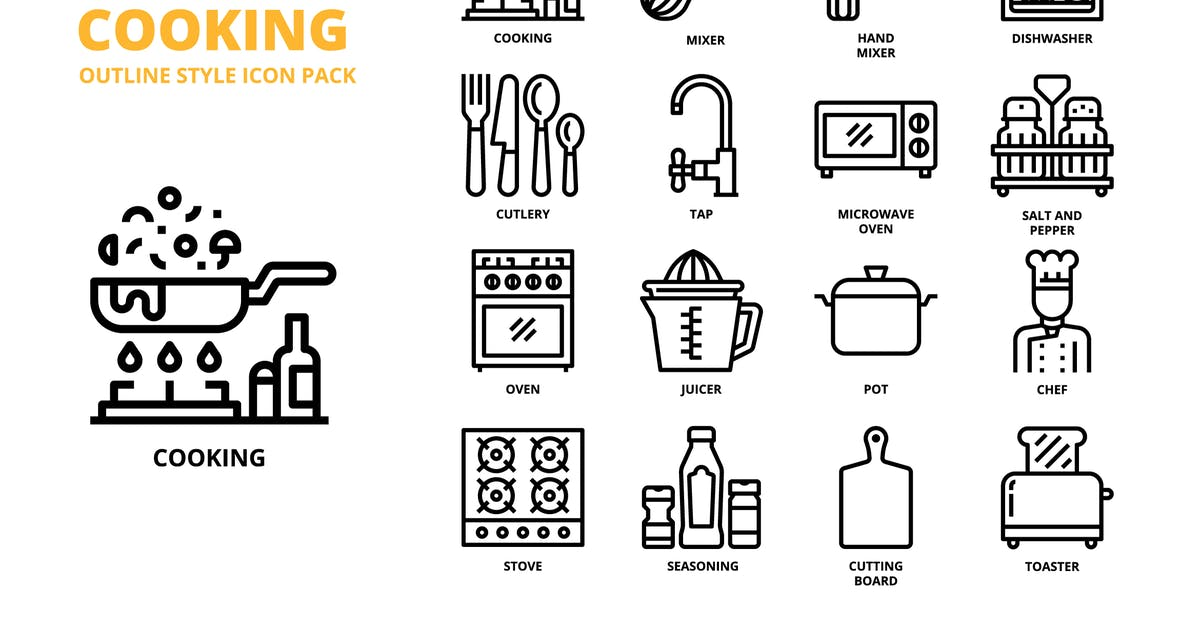 Download Cooking Outline Style Icon Set by monkik
