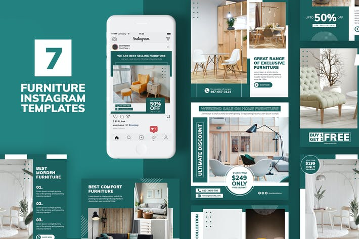 Thumbnail for Furniture Instagram Templates