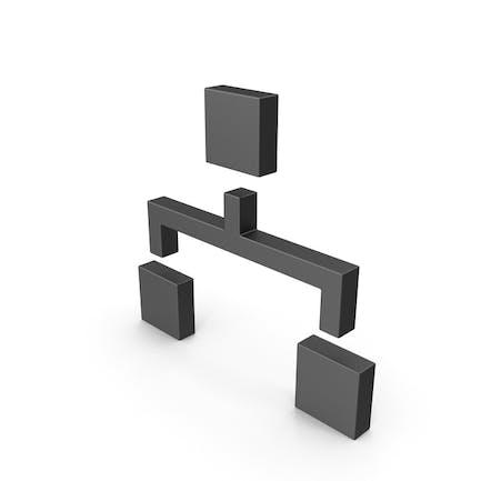 Symbol-Computer-Netzwerk Schwarz