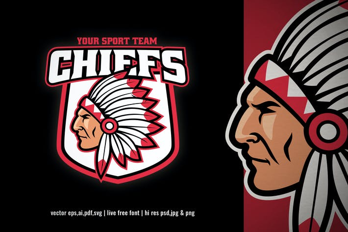 indian chief sport and esport logo
