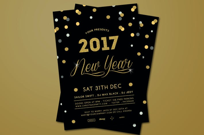 Thumbnail for Gold New Year's Party  Flyer