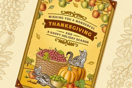Carte de vœux vintage Thanksgiving
