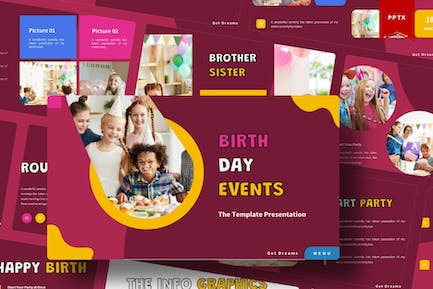 Birth Day Events   Powerpoint Template