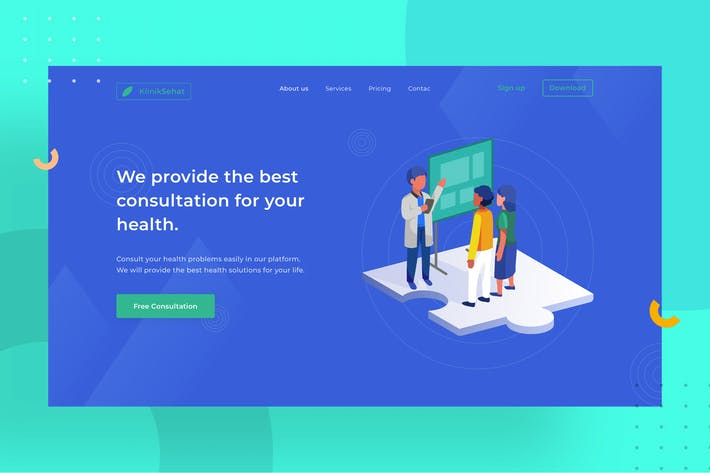 Thumbnail for Medical Landingpage UI with illustration 1.1